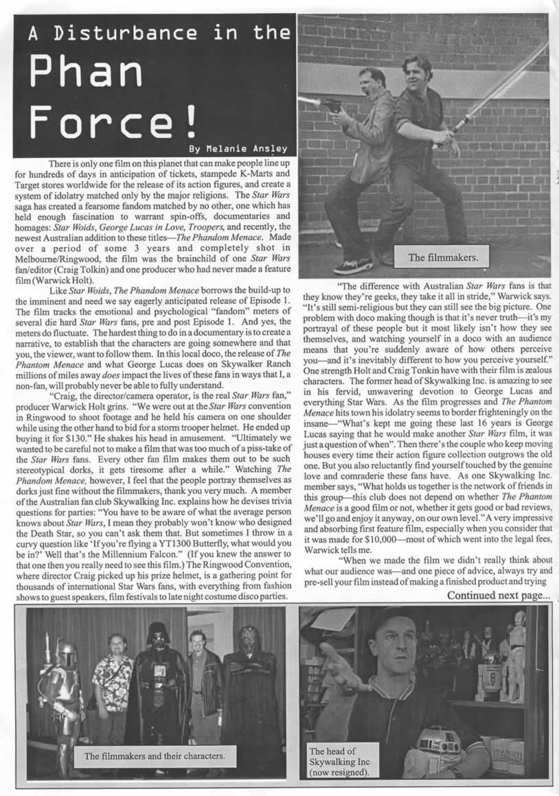 'A Disturbance in the Phan Force!' Page 1 - Scopofile, May 30, 2002